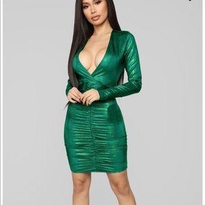 Fashion nova green ruched dress